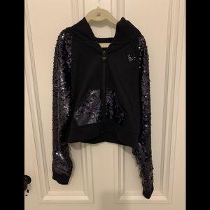 Justice Black sequined cropped hoodie 10